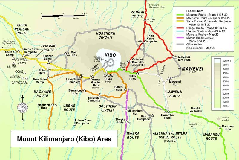 climb kilimanjaro map